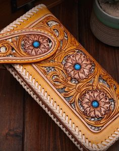 Handmade biker wallet coffee color carved prajna ghost leather long wallet for…