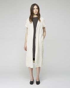 Black Crane Long Linen Coat | La Garçonne