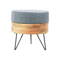The sturdy metal legs and soft fabric top makes this ottoman perfect for a little extra seating. Also comes in a square design.