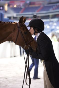 Stephanie Danhakl & Lifetime sneaking a little snuggle time at the Washing International Horse Show! Photo by Alden Corrigan.