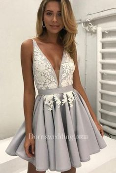Ball Gown Prom Dress, A line Prom Dresses, Silver A-line Princess Party Dresses, A-line Short Prom Dresses, 2018 Homecoming Dress V-neck Silver Appliques Short Prom Dress Party Dress Prom Dresses Girl Cute Homecoming Dresses, V Neck Prom Dresses, A Line Prom Dresses, Grad Dresses, Cheap Prom Dresses, Prom Party Dresses, Sexy Dresses, Dress Prom, Dress Lace