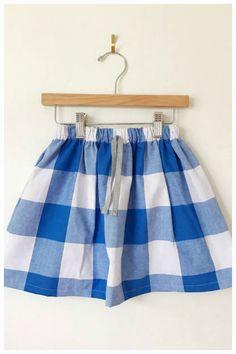 Cotton skirt in blue and white check, toddler skirt, baby skirt, girls skirt, gingham skirt #spring #toddler #affiliate