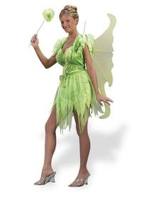 Tinker Bell.. I think if we just got a green tank top and embelished it with some glitter and we could make the skirt with some material that would work.  I have wings already.
