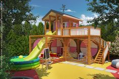 25 Fun Outdoor Playground Ideas For Kids Kids Backyard Playground, Backyard Playhouse, Backyard For Kids, Playhouse Plans, Backyard Ideas, Kids Outdoor Play, Kids Play Area, Play Areas, Indoor Play