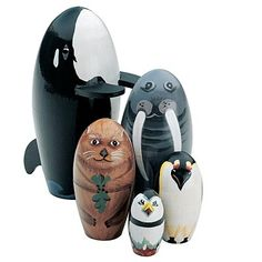 """A Whale Of A Good Time Animal Nesting Dolls #43202 - $12.99.  The big killer whale hides a walrus, an otter, a penguin and a little puffin. Whale measures 5½"""" tall."""