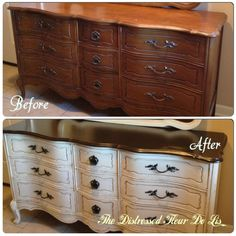 Before and after on a Bassett French Provincial dresser. I used homemade chalk paint, gel stain and dark wax. White Bedroom Furniture French, Redo Furniture, Refurbished Furniture, Beautiful Furniture, French Provincial Dresser, Paint Furniture, Furniture Makeover, Shabby Chic Furniture, Chic Home Decor