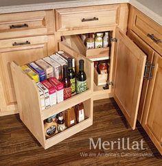 Interior Kitchen Corner Cabinet Organizers create easy access to the kitchen corner cabinets and kitchens