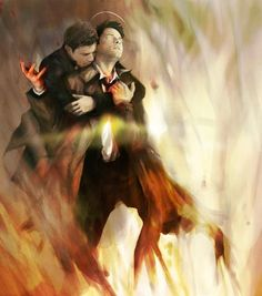 Amazing fanart of Cas and Dean. I love that it's Dean rescuing Cas. Maybe forshadowing Dean saving Cas from Lucifer this season ?!!! #Destiel #Supernatural
