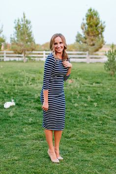 Striped Midi Dress-Navy- Pink Desert