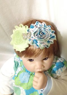 Light green and turquoise fabric flower cluster baby headband, fabric rosette flowers, newborn photo prop, shabby chic hair bow, special bow