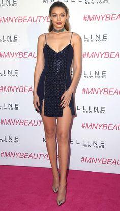 Gigi Hadid in a sexy black David Koma minidress and choker