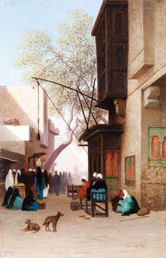Théodore FRERE (1814-1888) Rue animée au Caire Huile sur panneau d'acajou, signée en bas à droite. 33 x 21 cm Beau cadre en bois stuqué et doré à canaux du milieu du XIXème siècle - Gros & Delettrez - 20/11/2015