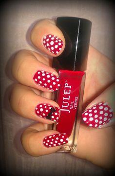Dipped in Lacquer: Minnie Mouse Inspired Nails Cute Nails, Pretty Nails, Fan Nails, Minnie Mouse Nails, Polka Dot Nails, Disney Nails, Nail Envy, Fabulous Nails, Cute Nail Designs