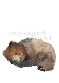 Sleeping baby bear - Watercolor Fine Art Print.  This item is a fine art print of an original watercolor painting by Jieun Rasband. The