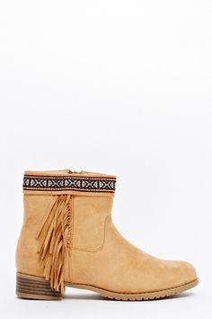 Aztec Trim Low Heel Boots