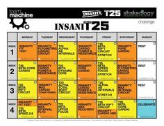 Insanity / T25 Hybrid After completing t25 month 2 will start these whole new calendar adding both Insanity & t25 EXCITEDD
