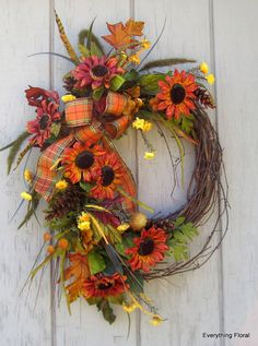 FALL SUNFLOWER WREATH Fall Decor Autumn Wreath by EverythingFloral, $65.00