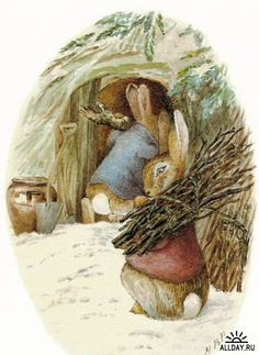 """**Peter Rabbit and Benjamin Bunny by Beatrix Potter """"Preparing for cold weather"""""""