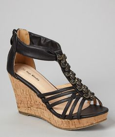 This Black T-Strap Pear Stone Sandal by TOP MODA is perfect! #zulilyfinds