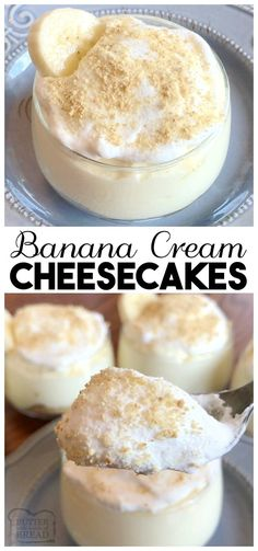 Banana Cream Cheesecakes made with banana pudding, whipped topping, and a graham cracker crust are the absolute perfect, easy to make sweet & creamy treat!