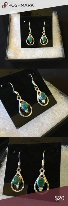 Handmade Dark Jade Earrings Simple elegance! These are hanging earrings with naturally cloudy dark jade stones. They are 925 silver plated. The pair pictured is the exact pair you will receive. Bundle and save! :) Jewelry Earrings
