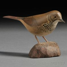 Carved and painted Hermit Thrush, 1943 (possible Jess Blackstone)