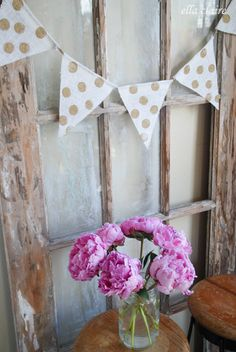 {Ella Claire}: Adorable Burlap Banners from Simply Burlap / love the gold polka dots!