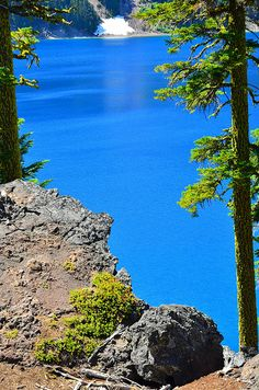 Crater Lake. The water is truely this blue.