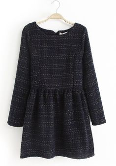 Black Plain Round Neck Below Knee Wool Dress