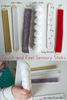Touch and Feel Sensory Sticks. Repinned by SOS Inc. Resources pinterest.com/sostherapy/.