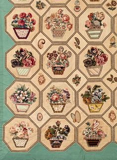 Broderie Perse quilt, detail. Old Quilts, Antique Quilts, Vintage Quilts, Quilt Block Patterns, Applique Patterns, Quilt Blocks, American Patchwork And Quilting, Whole Cloth Quilts, Quilting Board