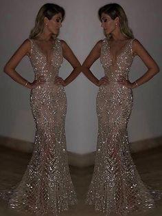Blingbling Sequined Mermaid Evening Dress - 2020 New Prom Dresses Fashion - Fashion Of The Year Dresses Elegant, Pretty Dresses, Sexy Dresses, Beautiful Dresses, Fashion Dresses, Formal Dresses, Summer Dresses, Casual Dresses, Dance Dresses