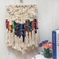 Macramé Woven Wall Hanging with Tassels, Colorful Upcycled Macramé with Tassel Fringe, Sustainable Macramé Woven Wall Hanging, Boho Macrame Paper Weaving, Weaving Art, Hand Weaving, Weaving Projects, Macrame Projects, Yarn Wall Hanging, Wall Hangings, Ribbon Wall, Macrame Patterns