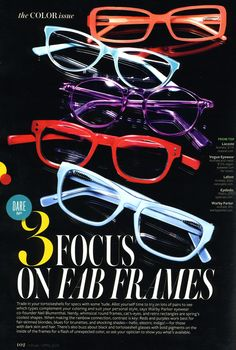 in-style-magazine-glasses--The bolder in COLORS...the better!!! Never be afraid to play with your look (: #Fashion #Glasses #Art