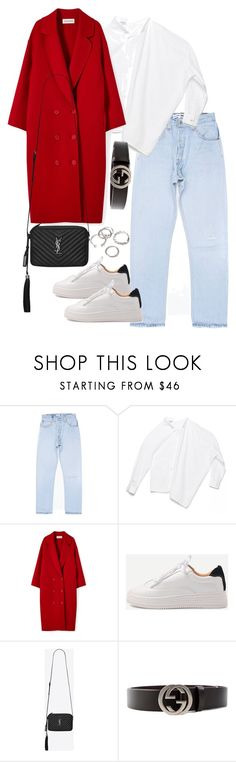 """""""Untitled #4635"""" by theeuropeancloset ❤ liked on Polyvore featuring WithChic, Yves Saint Laurent, Gucci and Forever 21"""