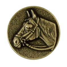 Horse Head Metal Button with Shank 7/8'' Antique Gold by each, GILA-ITALY-27468
