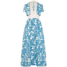1970s Blue and White Maxi Dress With Jacket