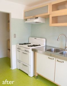 that stove is divine before after my cheap green kitchen remodel apartment