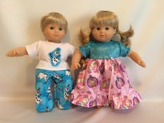"15"" Doll Princess Elsa and Anna Nightgown and Snowman Pajamas for American Girl Doll Bitty Baby Twins by pleasantcompany01 on Etsy https://www.etsy.com/listing/216526312/15-doll-princess-elsa-and-anna-nightgown"