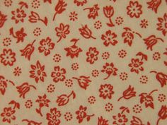 Vintage 1970s quilt fabric in highquality unused cotton with small printed red flower pattern on bonewhite bottomcolor