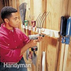 Build a PVC pipe tool rack Build this PVC rack to store your tools on the wall. Use a jigsaw to cut a 1-1/4-in.-wide notch down the length ...