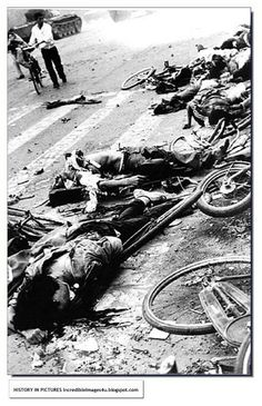 By mid-May 1989, hundreds of thousands of protesters occupied (Tiananmen) square, staging hunger strikes, and asking for dialogue. Chinese authorities responded with a declaration of martial law, and sent soldiers and tanks from the People's Liberation Army, preparing to disperse the crowds. Late on June 3rd, 1989, the tanks and armored personnel carriers rolled into the square, killing and wounding many, mostly civilians - estimates vary widely, from several hundred to several thousand…