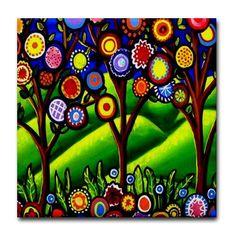 Fun Funky Trees Green Blossoms Whimsical Folk by reniebritenbucher