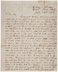 Ulysses S. Grant to R McKinstrey Griffith, September 22, 1839. (Gilder Lehrman Collection)