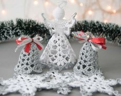 Crochet angel silver edged Set of 3 by SevisMagicalStitches