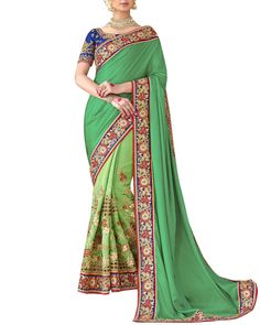 Impress Everyone Around You With Your Elegant Style By Wearing This Wedding Trousseau Saree From The Online Store Of Simaaya Fashions. http://www.simaayafashions.com/reception-faux-georgette-saree-in-green-ssmona610  SimaayaFashion#HalfAndHalf#WeddingTrousseau#PartyWear#FestiveCollection#WeddingCollection#EmbroideryWork#OnlineShopping