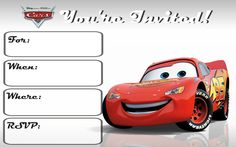 cars 3 invitations