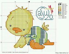 Малыши утята. Детская вышивка крестом (10) (640x502, 246Kb) Cross Stitch For Kids, Cross Stitch Boards, Cross Stitch Heart, Cross Stitch Animals, Counted Cross Stitch Patterns, Cross Stitch Designs, Cross Stitch Embroidery, Baby Motiv, Stitch Cartoon