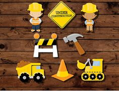 Construction cupcake toppers construction by MyHeartnSoulBoutique