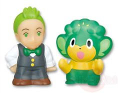 Pokemon Chara Kids W CILAN and PANSAGE Finger Puppet Figure Nintendo Bandai